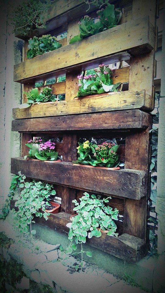 Fioriera realizzata con bancali eur bancali e pallet pinterest - Shabby chic giardino ...