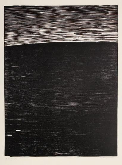 Anna Eva Bergman (1909-1987) // Horizon. Bois grav. 452 x 600. Belle preuve sur vlin crme, justifie E.A la mine de plomb, titre et signe. Courts plis casss de manipulation.