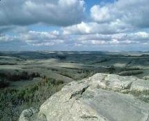 St. Victor Petroglyph Provincial Park.  View of the surrounding landscape from the petroglyph outcrop, 1993.; Government of Saskatchewan, 1993.