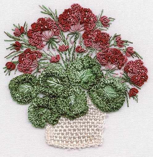 I ❤ embroidery . . . GERANIUMS- just gorgeous! Brazilian Dimensional Embroidery