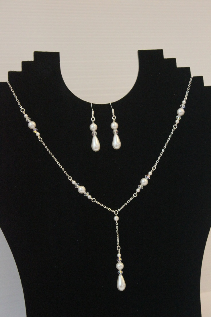 925 silver Wedding Jewelry Set, Bridal Pearl Jewelry Set. Earrings Necklace Set. Bridesmaids Wedding Jewellery Set. $40.00, via Etsy.
