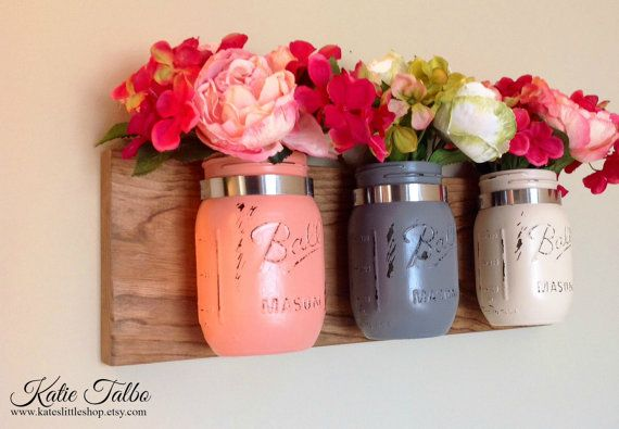Set of 3 Pint Size Mason Jar Wall Decor. Wall Hanging. Rustic Home Decor. Rustic Housewears. Farmhouse Decor. Mason Jars. Painted Mason Jars