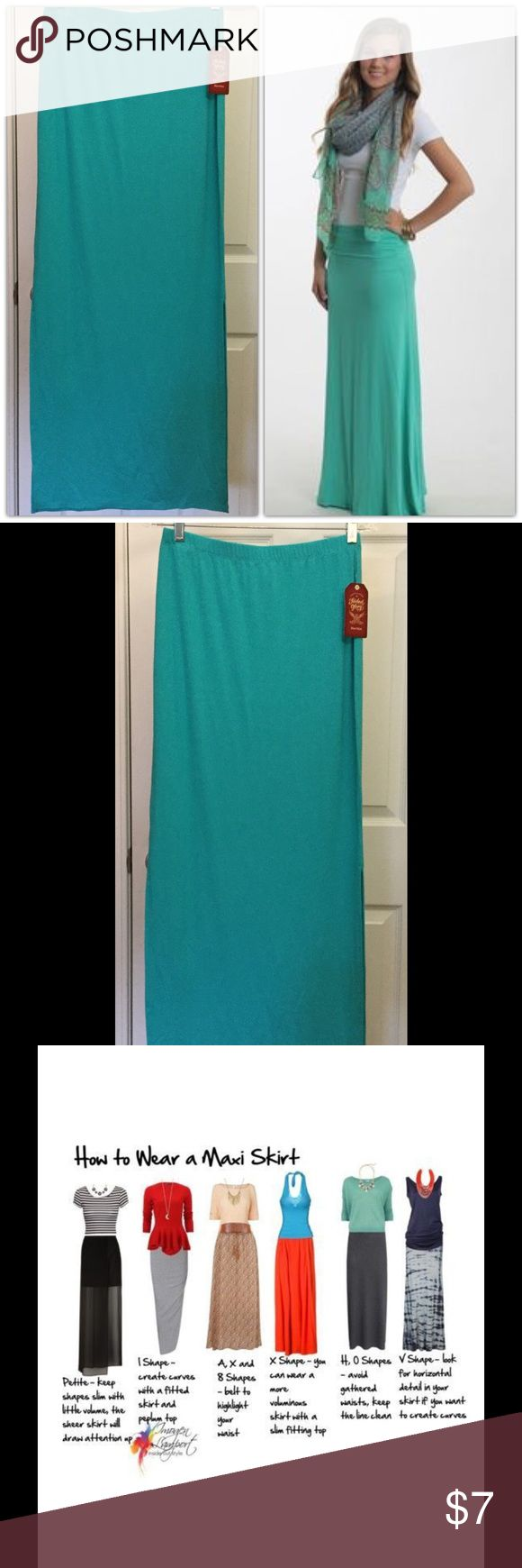 "Teal Maxi Skirt NWT! There are all kinds of styles when wearing a Maxi. Lots of options! This one is 42"" long size Small. Faded Glory Skirts Maxi"