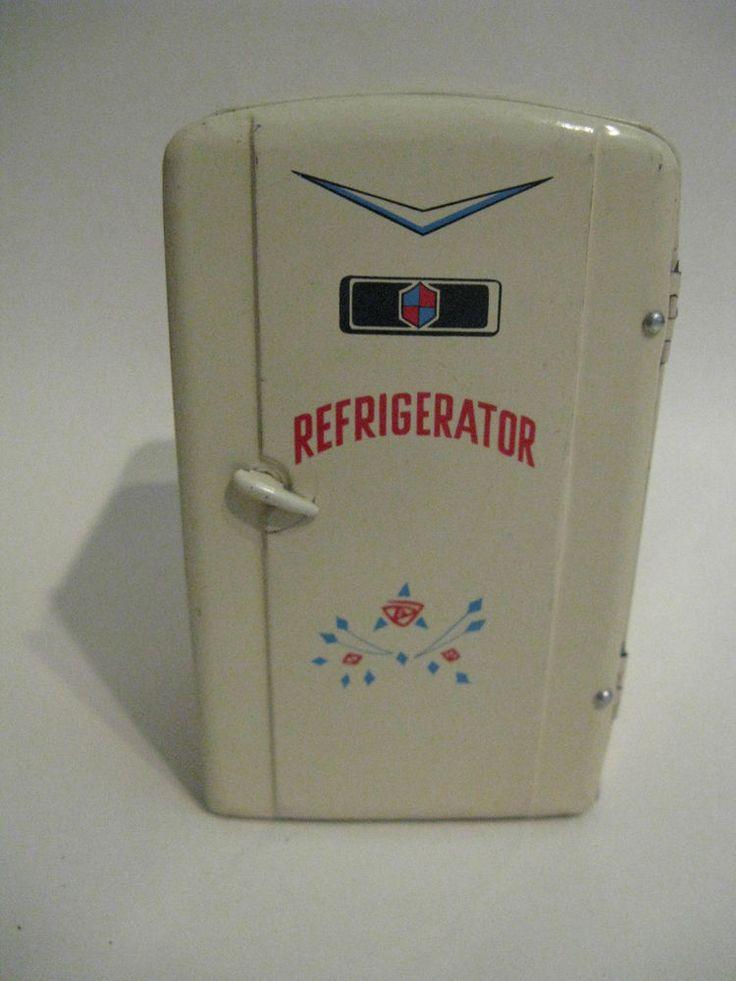 Vintage Tin kitchen refrigerator fridge mid-century  dollhouse toy TN Japan 1/12…