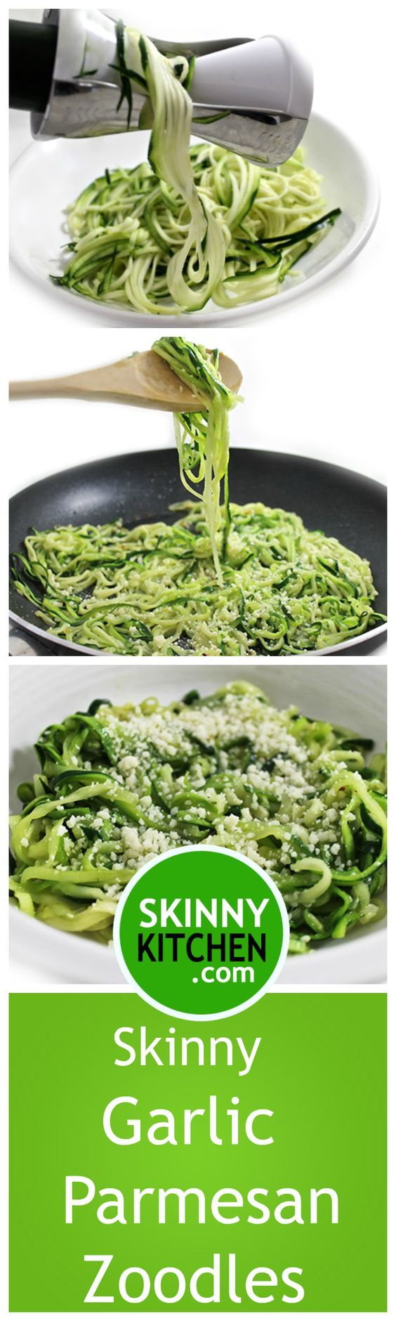 Skinny Garlic Parmesan Zoodles. It's sooo dreamy good. Makes a wonderful side dish to chicken, beef, pork or fish and works wonders topped with pasta sauce. Each serving, 135 calories, 8g fat & 3 Weight Watchers SmartPoints. http://www.skinnykitchen.com/recipes/skinny-garlic-parmesan-zoodles/