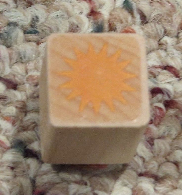 Solid tiny Sun Burst outline MINI sunshine weather wood Rubber Stamp Gift Tag  #Unbranded #Ministamp