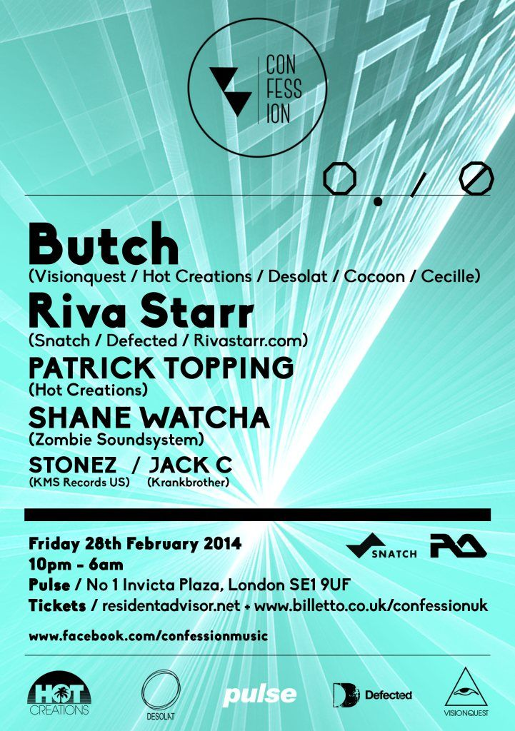RA Tickets: Confession presents Butch, Riva Starr, Patrick Topping and Shane Watcha at Pulse, London