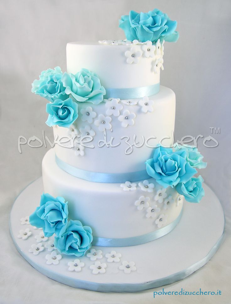 Torta nuziale a 3 piani con rose azzurre  Wedding Cake with 3 planes, with sky blue roses