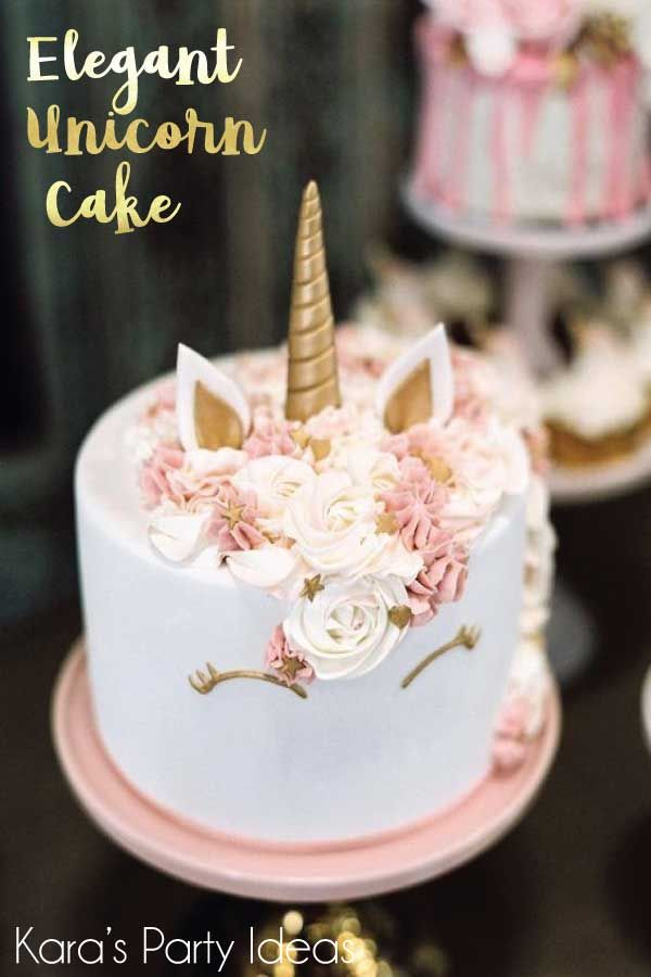 Elegant Unicorn Cake With Pink Flower Mane And Gold Horn