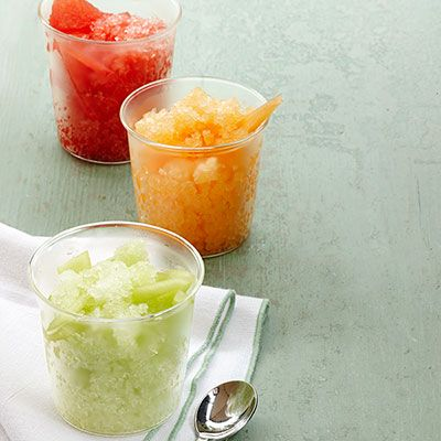 Watermelon, Honeydew, and Cantaloupe Granitas Recipe - Woman's Day  Sounds like Summertime in a CUP!