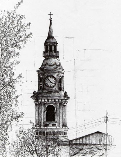 dibujo, blanco y negro, tinta, torre, iglesia, reloj