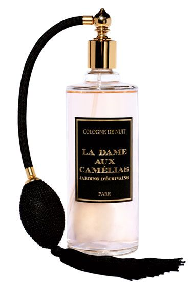 Jardins D'Écrevains La Dame aux Camélias  The Occasion: Midnight drinks someplace cozy    The Scent: This French perfumery creates distinctive blends not worn by everyone else, like this delicate composition of camellia, violet and musk inspired by the scent of a lover's skin.    Jardins D'Écrevains La Dame aux Camélias, $150 for 250 mL, beautyhabit.com.