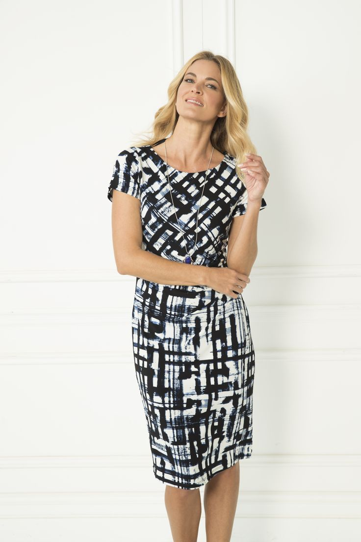 The Dariela Dress can be worn any time, any place. The abstract pattern is complimented by the subtle blue hues, whilst the figure hugging fit will flatter any figure with the side waist gather. Pair with plain black heels and simple silver jewellery to take the outfit into the evening.   Short sleeves Crew neckline Knee-length Side waist gather