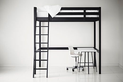 I'm going to get a loft bed like this, but I'm not sure what to put under it. My shelf and desk, or make it a lounging space?