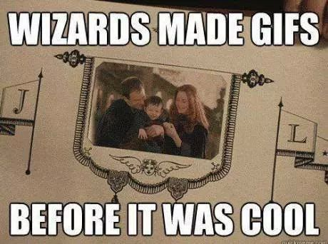 NO. NO, MOVING PICTURES AND GIFS ARE DIFFERENT! You can interact with the moving pictures (but they can't talk) but gifs just do the same thing over and over. Stupid muggles. READ HARRY POTTER AND THE ORDER OF THE PHOENIX!!!