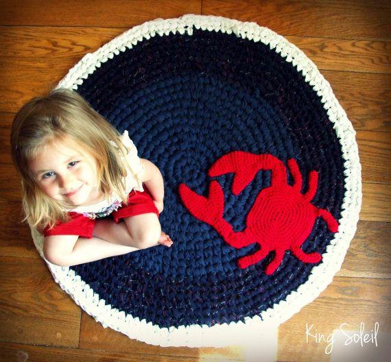 Custom Crochet Crab Rug Cotton Nautical Navy White And