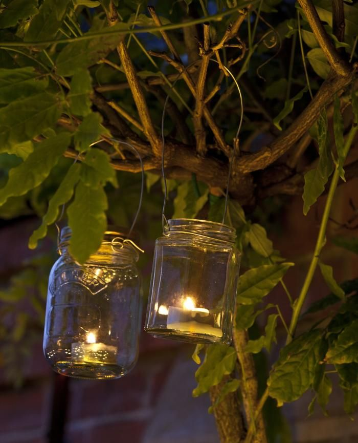 "Mason jars + votive candles = outdoor lanterns. Photo from ""The Balcony Gardener,"" by Isabelle Palmer.: Craft, Candle Holders, Jar Candles, Outdoor, Garden, Diy Light, Jars, Diy Projects"