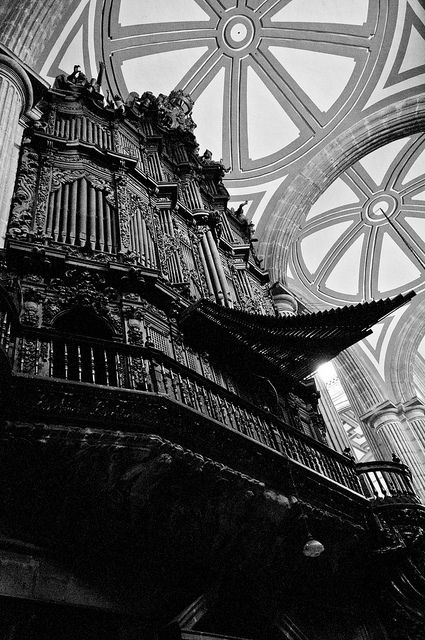The awesomely Gothic organ at the Mexico City cathedral in the zocalo  This Church is slowly sinking   the floors are small hills to climb