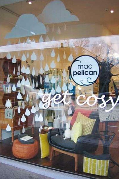 """Mac Pelican window display like  the """"April Shower's"""" theme and getting cozy with books.  Easy to do with household items."""
