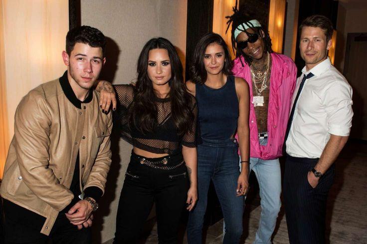 Demi Lovato with Nick Jonas, Nina Dobrev and Wiz Khalifa