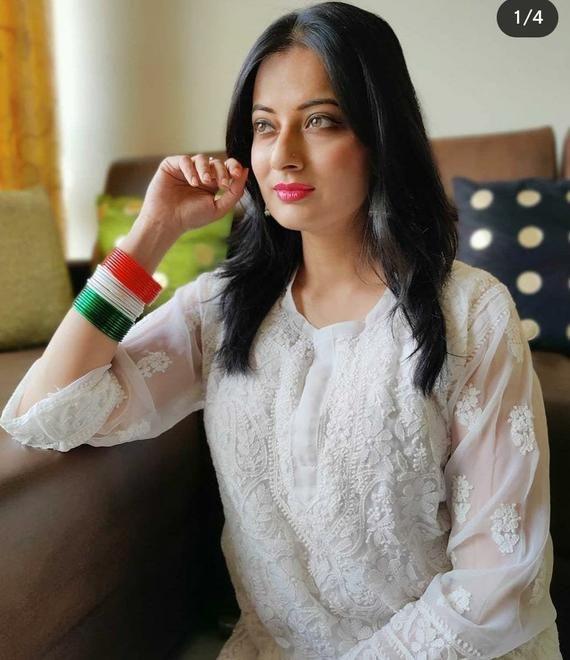 Free Inner Designer Wear Georgette Anarkali kurta And Pants Lucknow chikankari Hand embroidery Ethnic Wear Indian style kurti Kurta