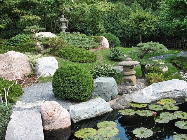 garden with large rocks and water lilly