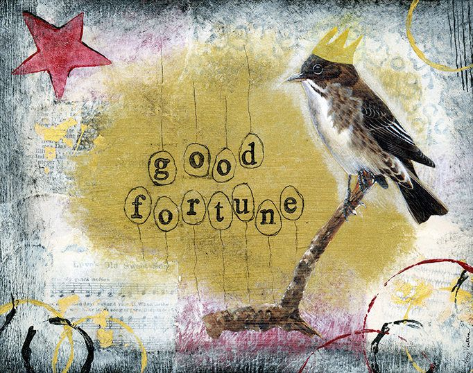 Let this sweet little bird bring you good fortune! Print available to you. http://etsy.me/2k9PZE3  #bird #crown #star #goodluck #artforsale