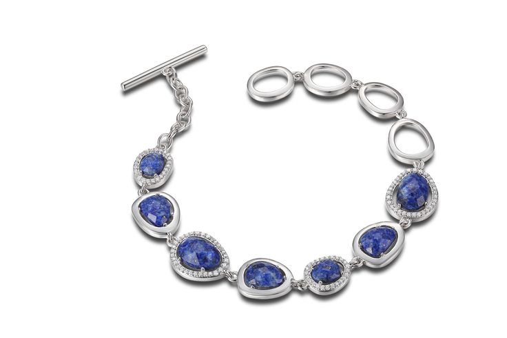 Sterling silver Elle bracelet with toggle style clasp, cubic zirconia and blue lapis - $250.00 #PoagWishList
