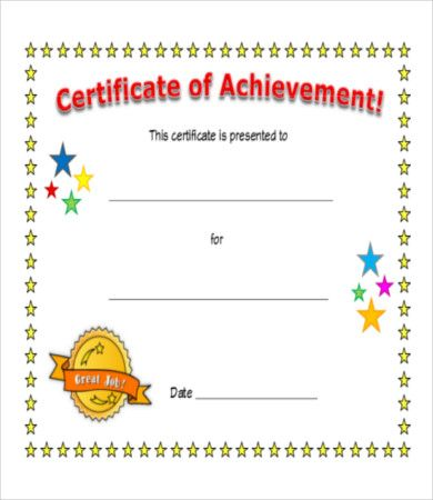 15 certificate of achievement templates free printable. Black Bedroom Furniture Sets. Home Design Ideas