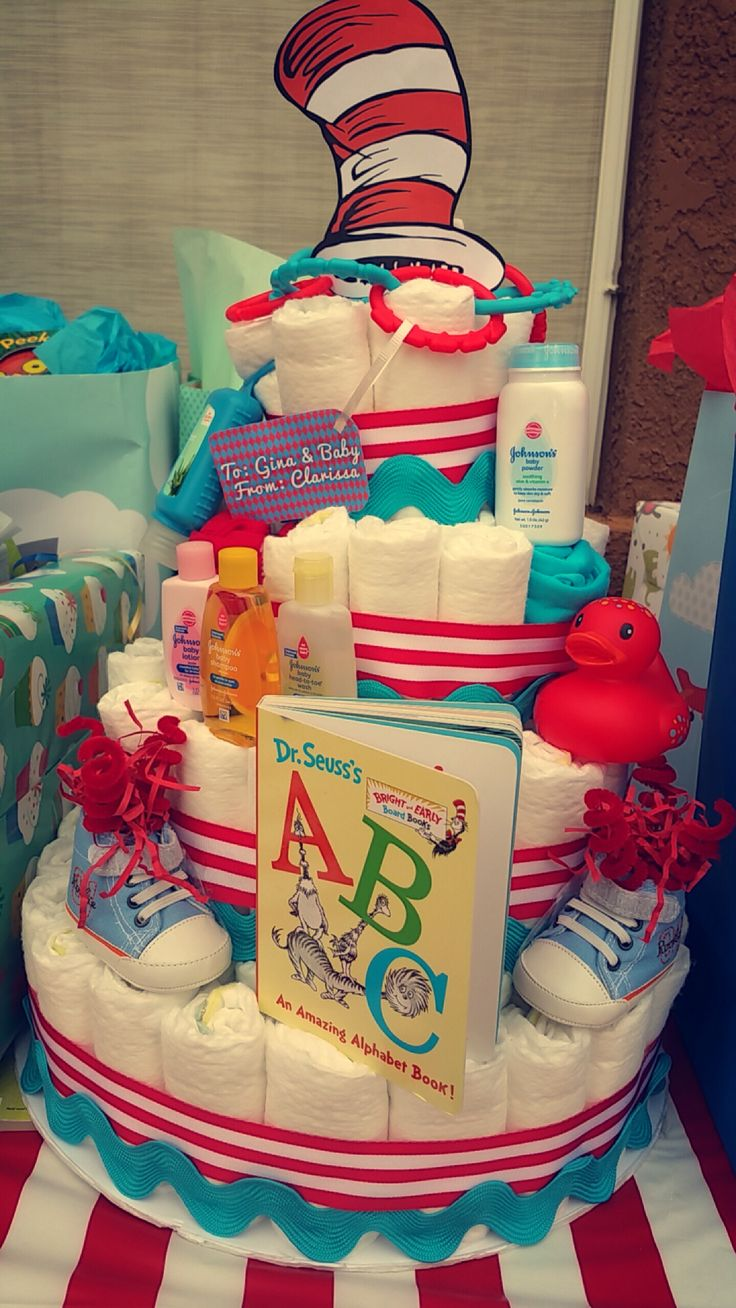 Dr. Seuss diaper cake for baby shower. Cat in The Hat
