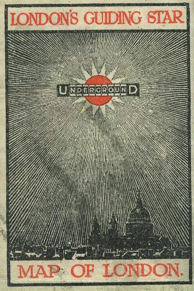 Pocket Underground map (cover) 1912.  Small fold-out Underground maps have been issued by London Underground since 1908. For over a century they have helped passengers plan their journeys and also acted as a handy reassuring reference en route. The front covers have featured adverts, artworks, quotes and a variety of approaches to company branding. This cover from 1912 aptly describes the map as 'London's guiding star'.