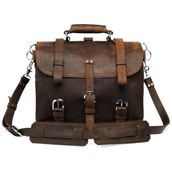 Vintage Handmade Crazy Horse Leather Travel Bag. Backpack / Messenger - Duffle