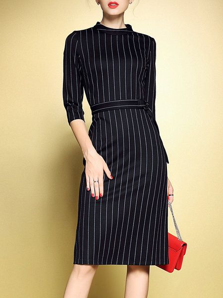 Black Work Zipper Stand Collar Stripes Sheath Midi Dress Stylewe