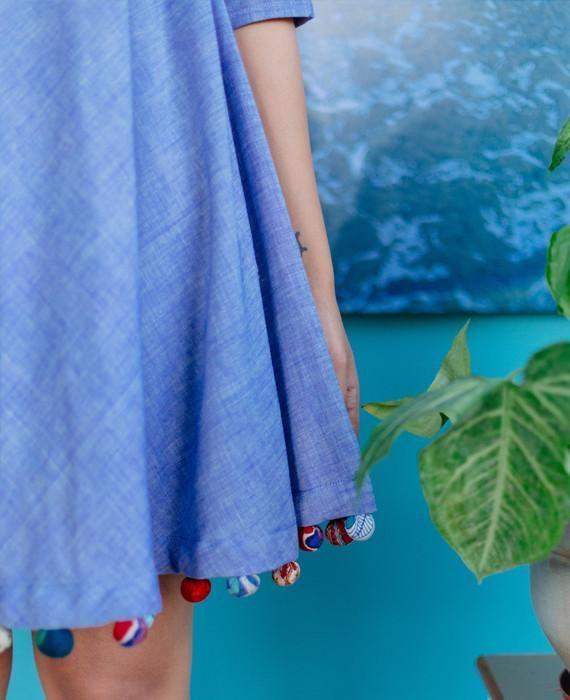 Handwoven Khadi Swing Dress with Handmade Pompoms