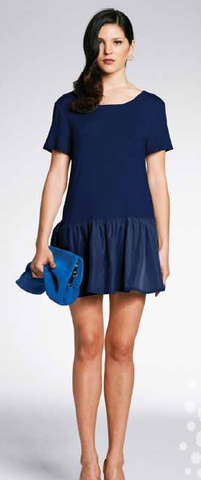 Minty Meets Munt Navy Drop Waist Dress - A great casual piece with beautiful contrasting materials $89