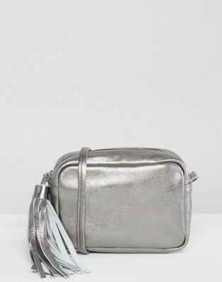 ASOS Metallic Leather Cross Body Bag With Tassel