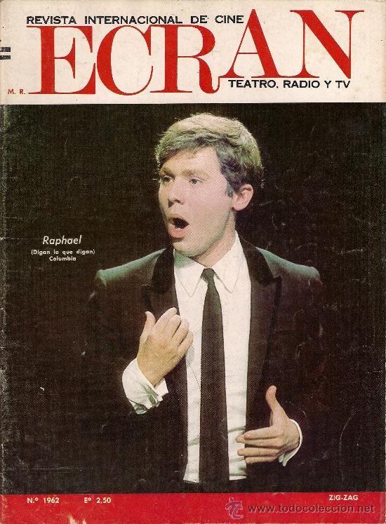 RAPHAEL portada revista chilena ECRAN 1968 (Música - Revistas, Manuales y Cursos)