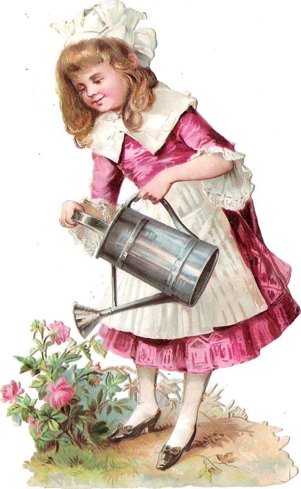 Oblaten Glanzbild scrap die cut chromo lady Kind 15,5cm girl  Garten jardin