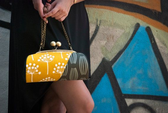 Floral Clutch Bag Yellow and Grey Clutch Purse by boejackdesigns