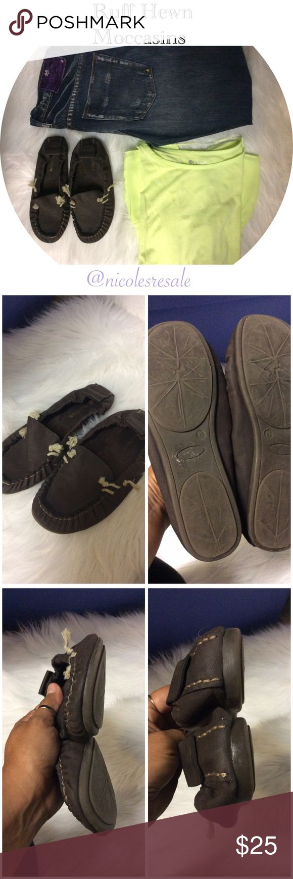 Ruff Hewn Moccasins Gray elastic heeled moccasins leather gently used consignment piece marked 8 but run about a size small. Ruff Hewn Shoes Moccasins