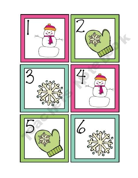 Here's a set of January calendar cards with an ABC pattern.