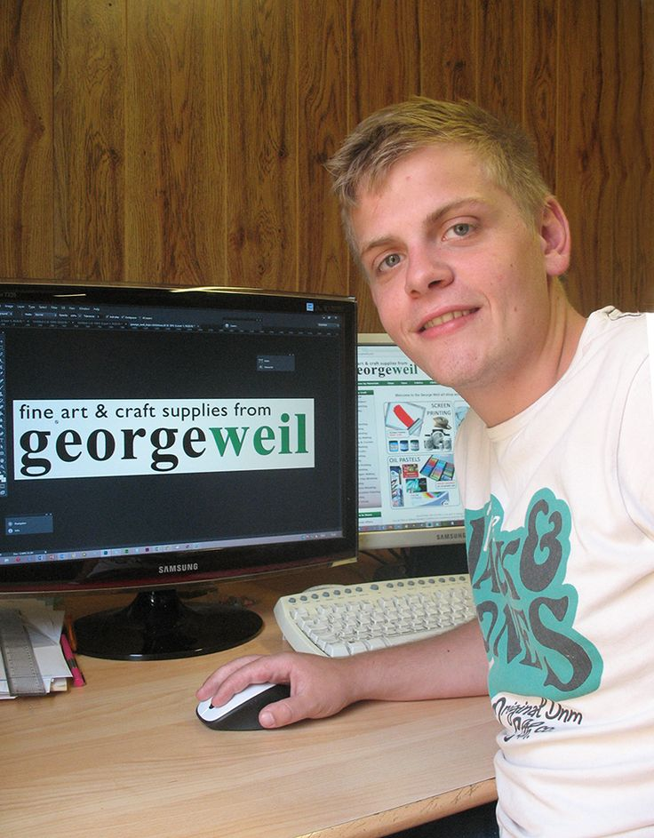 """My apprenticeship as a Graphics and Marketing assistant creates new challenges for me every day. George Weil have been very helpful in teaching me new skills and developing my knowledge towards a future job role."" Lewes Goff, 20"