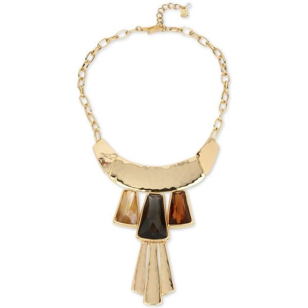 robert morris jewelry three block bib necklace robert morris soho gold tone multi statement