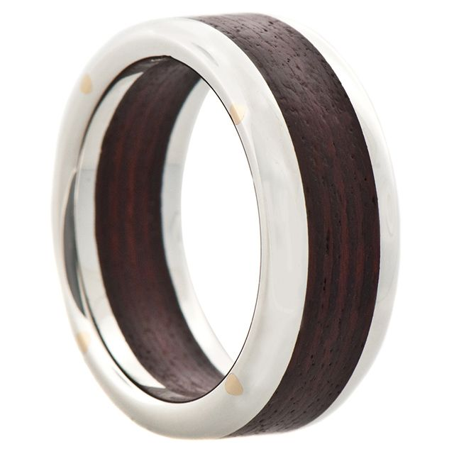 Silver and Wood Wide Rivet Band   Sterling silver and brushed Brazilian wood. These rings are assembled with 10k gold rivets.  9mm width.     $330