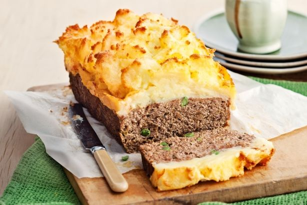 Cheesy mash-topped meatloaf. I seriously love this and make it all the time.