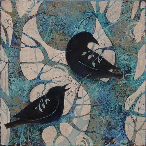 Sue Davis mixed media. As seen in http://theorchardgallery.com