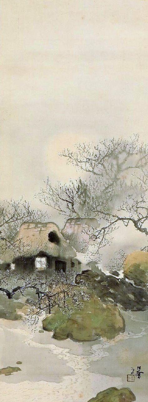 Suzuki Shosen 鈴木松僊 (1872-?), Spring Snow with Plum Blossoms. Shosen was the eldest son of Suzuki Shonen.