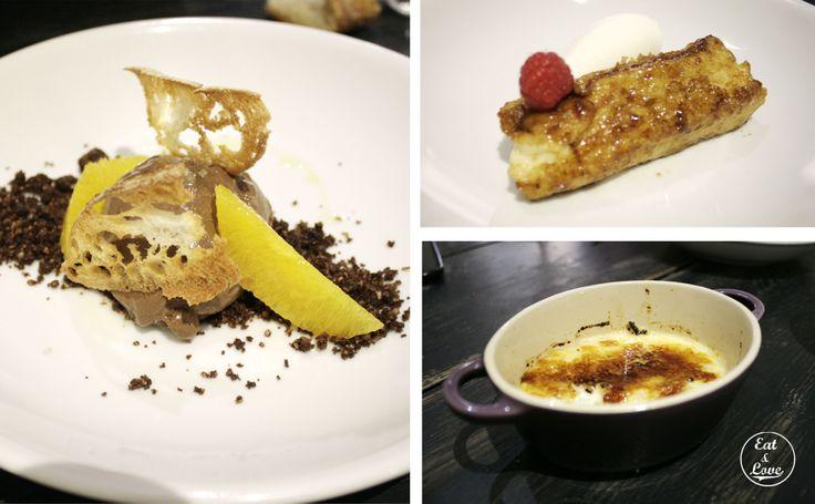 Postres: Crema de chocolate con gajos de naranja y pan, torrija de brioche avainillada con helado de yogur y arroz con leche asturiano - restaurante Triciclo - Huertas - Madrid