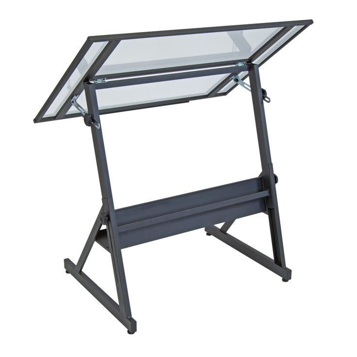 Studio Designs Solano Adjustable Glass Drafting Table   Brighten Your Work  Area And Set Yourself Up