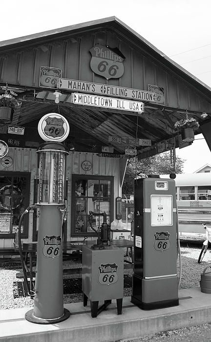 Route 66. Old fashioned gas pumps and other memorabilia outside the gas station Bill Shea opened on Rt. 66 more than fifty years ago. It is now a museum in Springfield, ILLINOIS. Fine Art photography.
